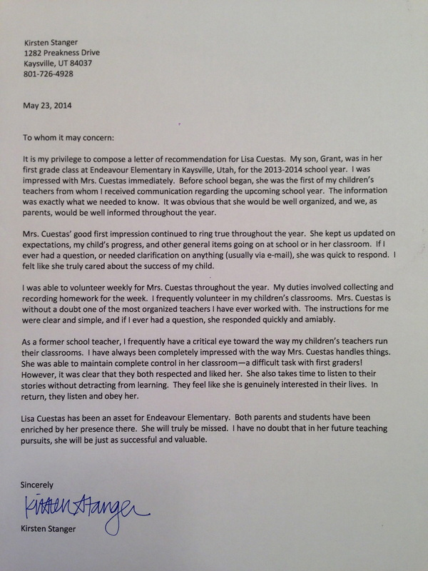 letters of recommendation